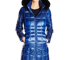 Calvin Klein Women's Long Packable Metallic Down  Coat